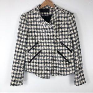 Zara Tweed Moto Blazer